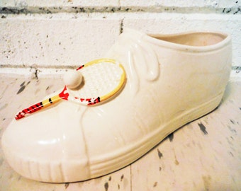 Vintage tennis shoe planter ceramic sneaker shabby sports athletics