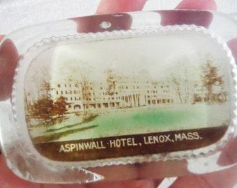 Antique glass paperweight Aspinwall Hotel Lenox Massachusetts MA souvenir office decor