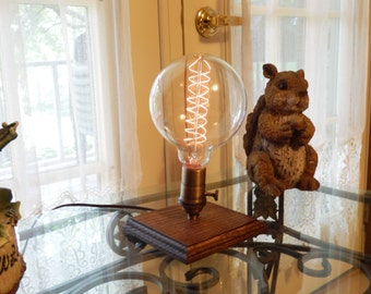 Edison Traditional Lamp- Handmade in Red Oak Wood