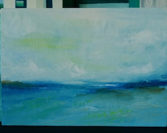 Seascape I - abstract oil painting - free shipping