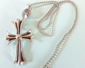 Shiny Silvertone Cross Pendant, Cross with Unique Bail & Ball Style Neck Chain, Statement Cross Necklace