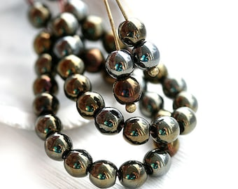 5mm round druk beads, Iris brown metallic beads, Czech glass round spacers, glass beads - 5mm - 40Pc - 1188