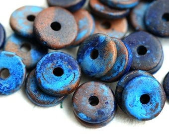 10Pc Greek Ceramic beads - Rustic Dark blue beads, brown, mixed color - 13mm spacer, for leather cord, washer, round, rondelle - 2291
