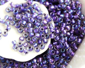 Purple Seed beads, Toho seeds, size 11/0, Inside color Rainbow Crystal - Metallic Purple Lined, N 265 - 10g - S433