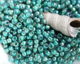 Teal Seed beads, Toho beads, size 11/0, Inside-Color Rainbow Lt Sapphire Opaque Teal Lined   N 1833 - 10g - S457