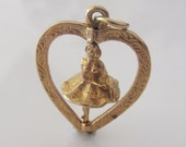 9ct Gold Ballerina Spinning in a Heart Charm or Pendant