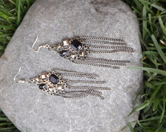 Unique Gun Metal Dangle Earrings