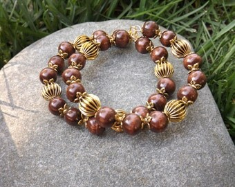 Wooden Bracelet with Gold Accents