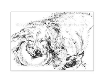 "Dog - ORIGINAL ACEO, SFA, Black and White, Line Drawing, Animal Art, ""Sleeping Puppy"", Original Art - Unique Gift"