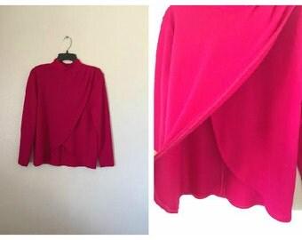 Vintage tulip shirt magenta hot pink architectural construction unique Size small medium