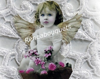 Reneabouquets Vintage Chubby Little Cherub Die Cut Set Of 3,  Scrapbook Embellishment, Die Cuts, Fairy, Fairies