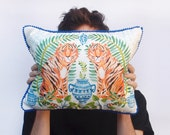 Jungle Alchemy Digital Print Tiger Cushion Cover with Blue Pom Pom Trim and Linen Reverse
