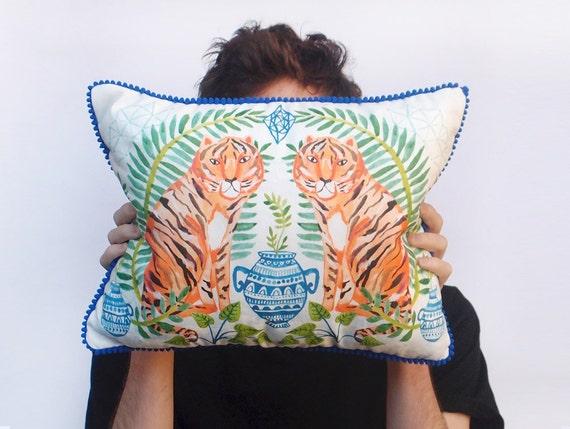 Jungle Alchemy Digital Print Tiger Cushion with Blue Pom Pom Trim and Linen Reverse