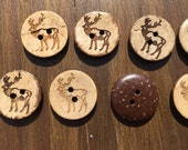 Elk Deer Brown Coconut Shell Buttons 18mm for sewing or craft 18mm - 40 buttons