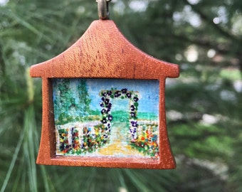 Miniature Art, Art to Wear, Hand Painted Pendant, Garden Scene