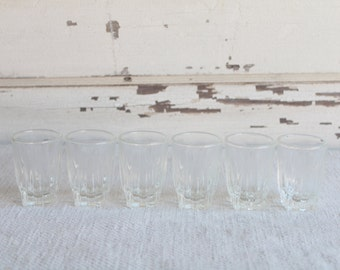 Vintage Clear Glass Shot Glasses Set of 6
