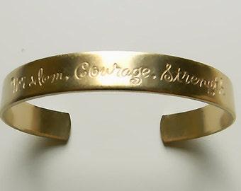 Raw Brass Cuff Bracelet, Wisdom Etched Sentiments Cuff Bracelet - 1 pc. (r237)