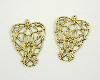 Raw Brass Filigree, Nouveau Wrap, Art Nouveau Pendant, Raw Brass Stamping 23mm x 17mm - 4 pcs. (r158)