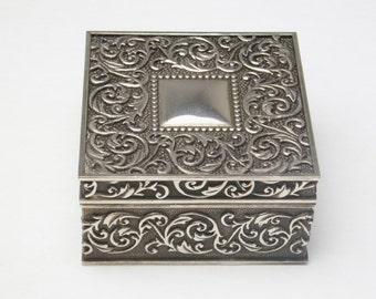 Silver Plate Vintage Trinket Jewelry Box Embossed Vine Decoration Blue Velvet Lined