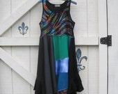 Hippie sundress, Patchwork dress, tattered dress, M Rustic hippie dress, artsy clothing, fairy gypsy cowgirl, black eco fashion