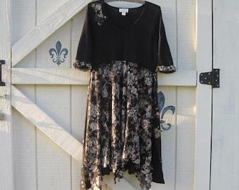 M Romantic dress, floral rustic tattered, bohemian dress, Black dress, Tunic gypsy dress, tattered tunic dress, Eco fashion dress
