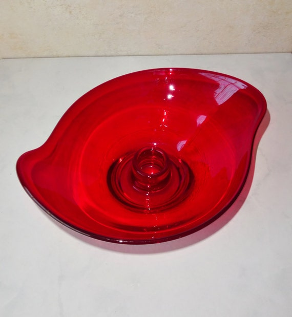 vintage ruby red glass candle holder viking glass art glass. Black Bedroom Furniture Sets. Home Design Ideas