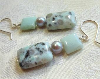 Mint green jade and sesame jasper earrings, sterling silver, freshwater pearls in silver
