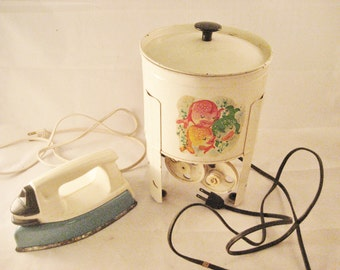 Vintage Childrens Toy Electric Washing Machine and Iron Vintage Laundry Room Decor Longwood Machine Co Little Mary Proctor