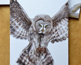 Owl Notebook - Woodland Animal - Great Gray Owl - A6 - Eco and Recycled - Compact Notebook