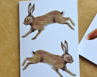 Hare Notebook - Woodland Animal - Two Wild Hares - A6 - Eco and Recycled - Compact Notebook