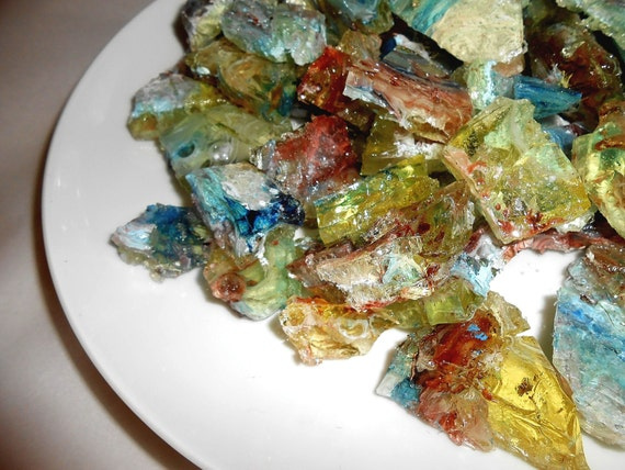 Hard Candy Gems, Barley Water, Sea Glass, Edible Agates, Chunks, Aqua, Brown, Cream