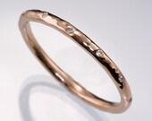 Thin 12 Diamond Wedding Ring in Rose Gold, Sterling Silver, Palladium, White Gold & Yellow Gold, Skinny Textured Womens Wedding Band