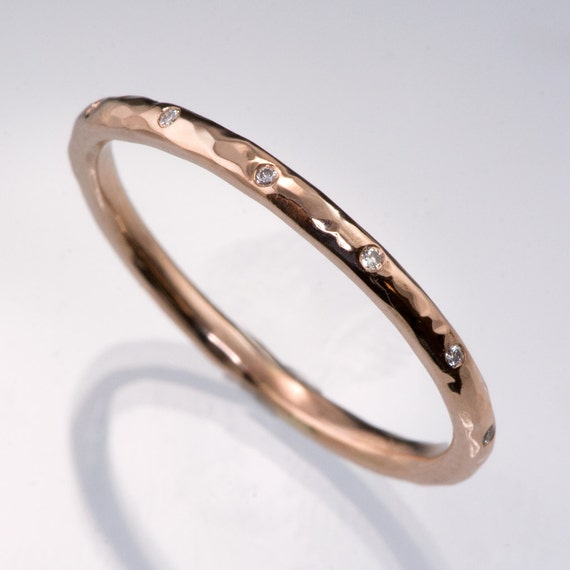 Thin 12 Diamond Wedding Ring In Rose Gold Sterling Silver