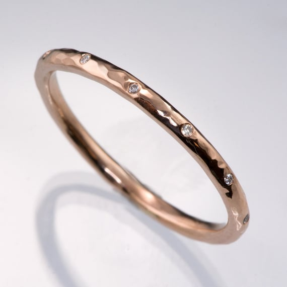 Thin Band Black Diamond Ring