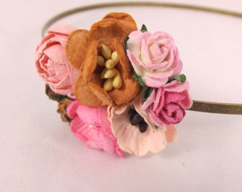 Brown and Pink Floral Headband Flower Fascinator Vintage Wedding Party Bridal Accessory Bridesmaid statement