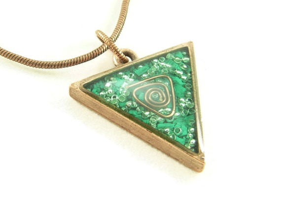Orgone Energy Triangle Pendant in Copper with Malachite - Unisex Necklace - Men's Necklace - Energy Jewelry - Artisan Jewelry