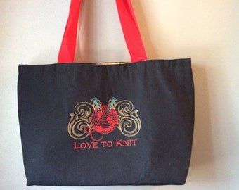 Embroidered Love to knit tote