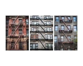 New York City Photography, Large Wall Art, Home Decor, New York City Fire Escapes, Brown, City Photography, Fine Art Photography, Art Print