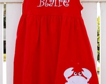 Crab  applique Monag cotton dress