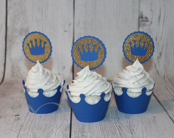 Little Prince Cupcake Toppers in Royal Blue & Glitter Gold - Set of 12 - Baby Shower, Birthday