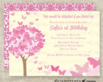 BUTTERFLY BIRTHDAY PARTY Invitations Pink Butterfly Fairy Tale Butterfly Digital diy Printable Personalized - 175704058
