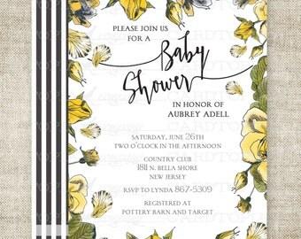 ROSE BABY SHOWER Invitation Yellow Rose Victorian Rustic Country Custom Digital diy Printable Cards