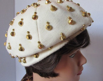 Vintage HAT 1960's  Tam Beret' white gold metal hexogon rivet details Frances Walker Helkin  Designer