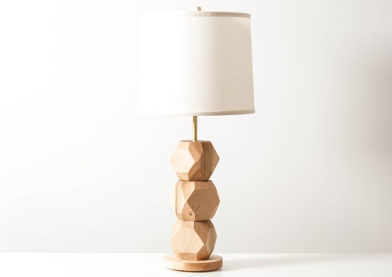 stacked gem lamp faceted wood table lamp modern lighting living room lamp uncoverly. Black Bedroom Furniture Sets. Home Design Ideas