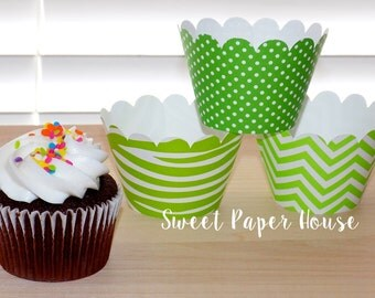 24 Cupcake Wrappers - Green Zebra, Polka Dots, Chevron (Scallop, Cardstock, Baby Shower, Wedding, Party, Birthday, Dots, Animal Print, Boy)