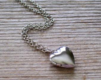 Mini Heart Locket, Tiniest Silver Heart Locket, Silver Plated Mini Locket, Locket Pendant Necklace, Layering Necklace, Love Locket
