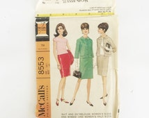 McCall's pattern 8553, sewing pattern, suit pattern with blouse or shell, 1960s fashion