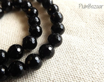 Obsidian faceted round 6mm beads, 15 inch strand