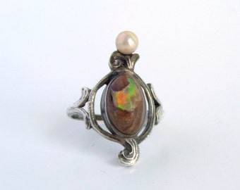 Antique Art Nouveau Ring. Sterling Boulder Opal and Pearl.