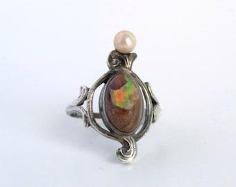 Antique Art Nouveau Ring. Sterling Boulder Opal and Pearl.